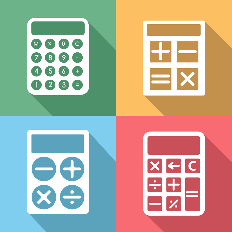 Calculator icons set with long shadow effect. Button and mathematics, electronic digit, finance and numeral, display set, illustration