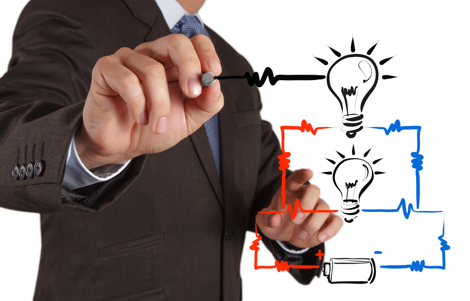 businessman hand draws electrical diagram series and parallel connection concept